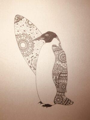 Pingvin med surfboard